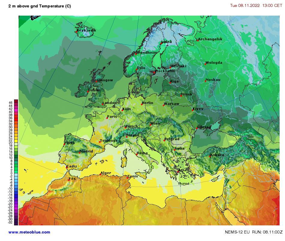 Mapa del Tiempo Europa