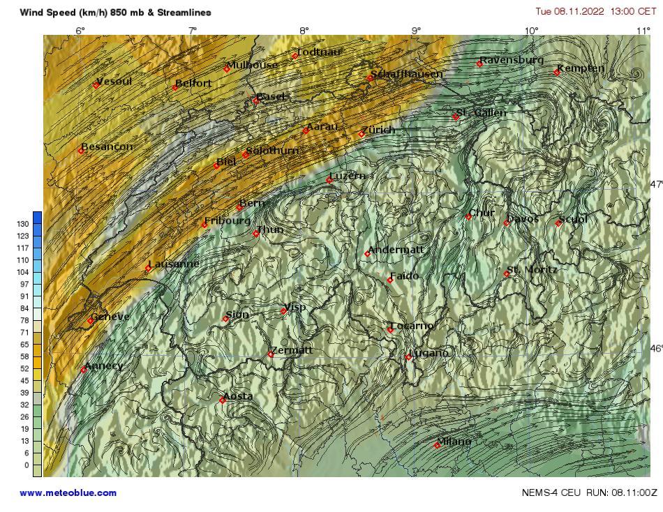 Wind speed (km/h) & 850mb Streamlines