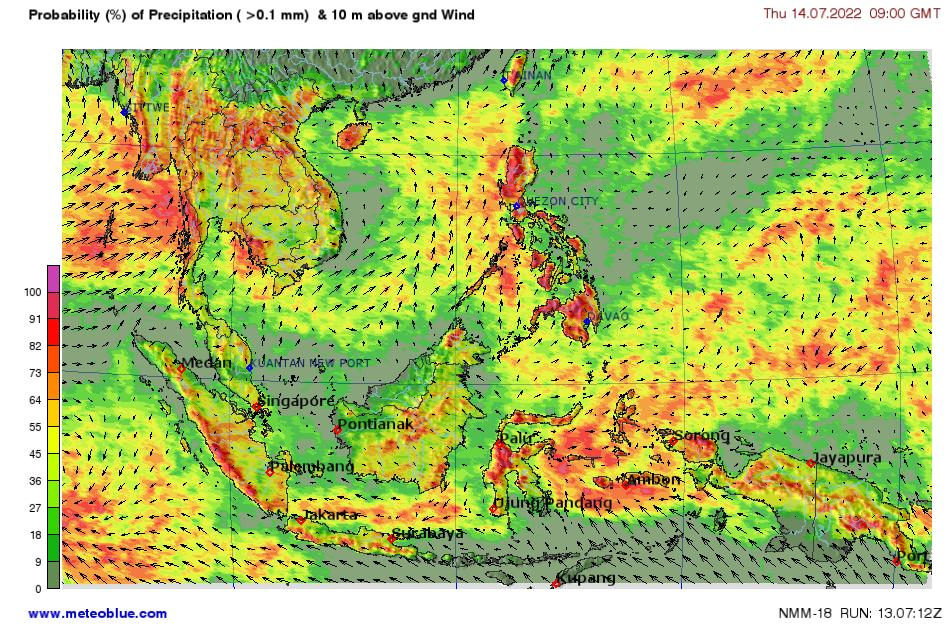 Map Of Asia Jakarta.Weather Maps Southeast Asia Meteoblue