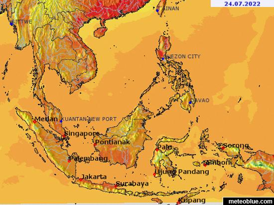The Map Of Southeast Asia.Weather Maps Southeast Asia Meteoblue