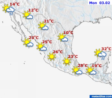 Current Weather Mexico City Meteoblue - Mexico temperature map