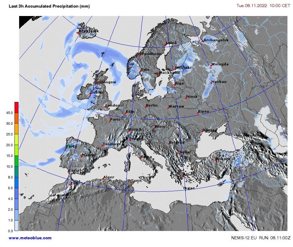 Precipitation Map Europe.Weather Maps Europe Meteoblue