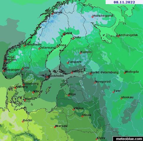 Wetterkarten Skandinavien Meteoblue