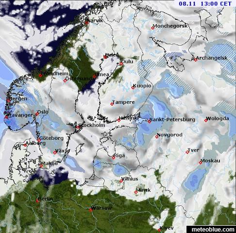Weather maps - Scandinavia - meteoblue