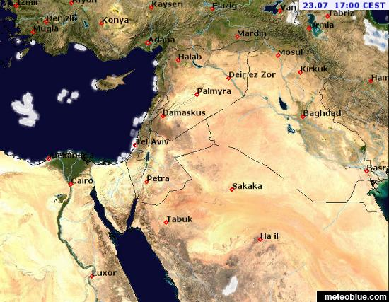 Show The Weather Map.Weather Maps Middle East Meteoblue