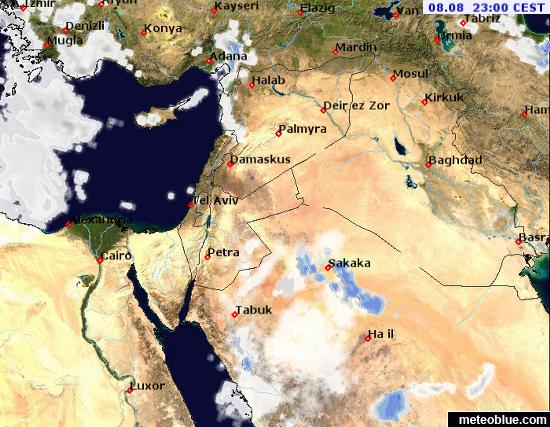 Weather Maps Middle East Meteoblue - Middle east satellite map