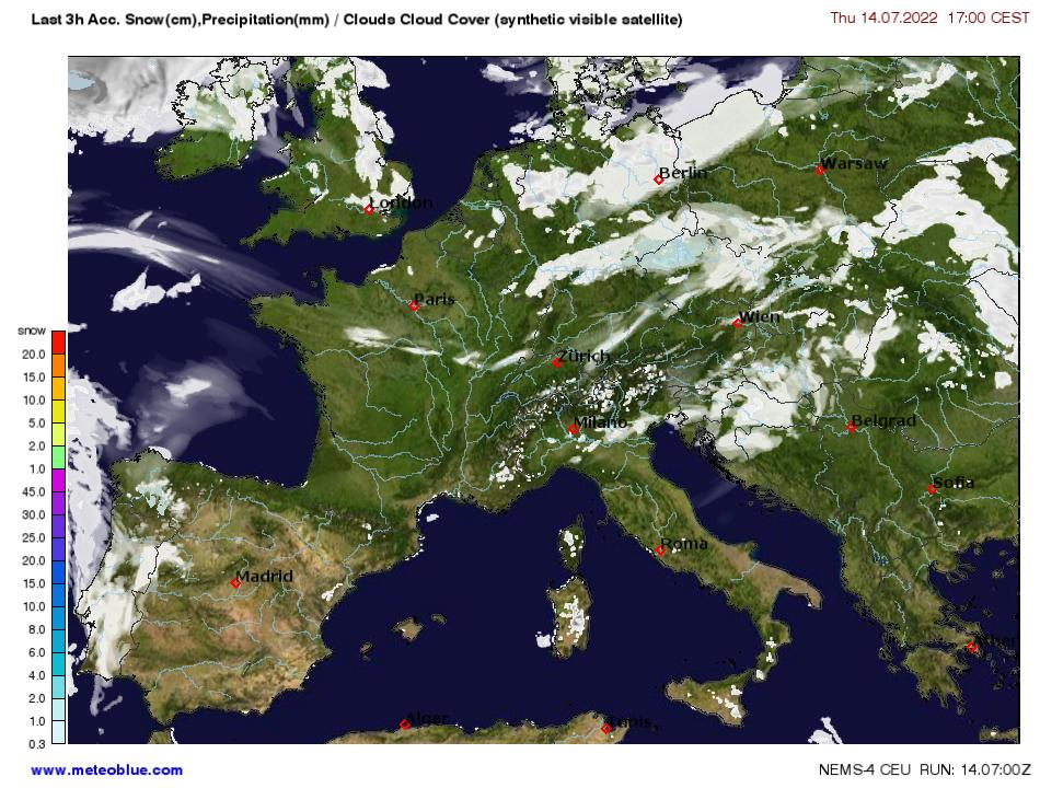 Snow Map Europe.Weather Maps Central Europe Meteoblue