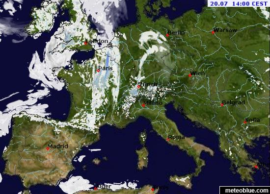 Average Rainfall Map Europe.Weather Maps Central Europe Meteoblue