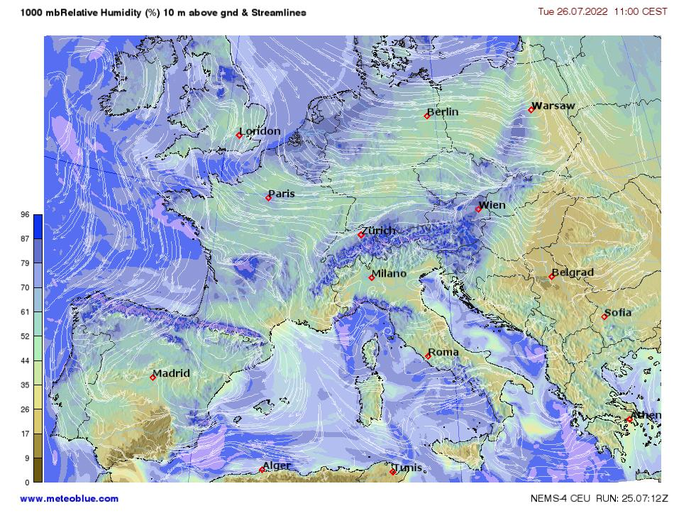 Weather maps Central Europe meteoblue
