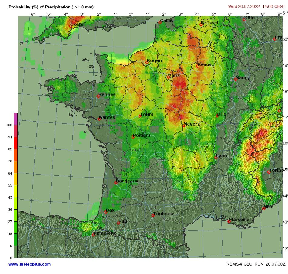 Hărţi Meteo Franța Meteoblue
