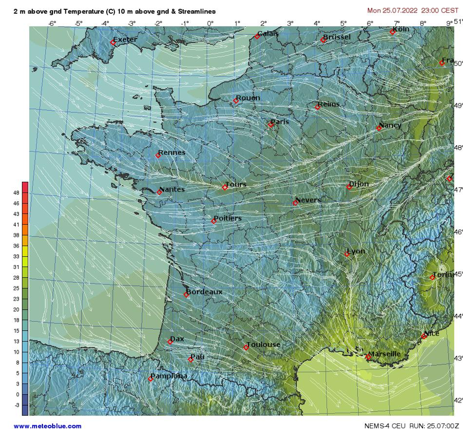 Cartes m t o france meteoblue for Meteoblue grenoble