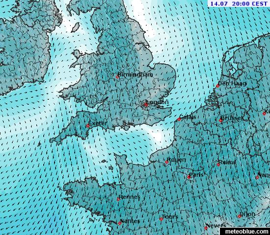 Weather maps - English Channel - meteoblue on