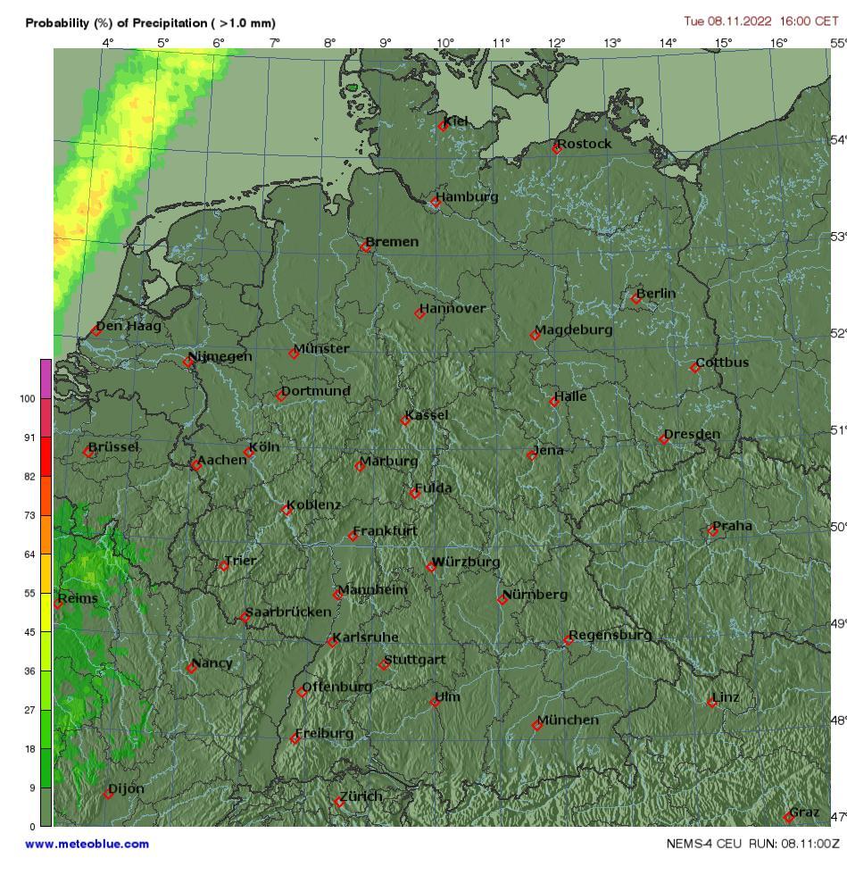 Mapa Pocasi Nemecko Meteoblue