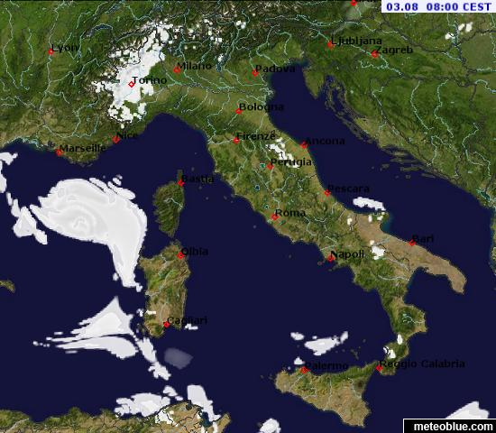 Map Of Italy Showing Bologna.Weather Maps Italy Meteoblue
