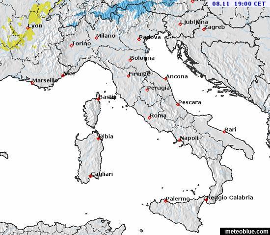 Mapa Pocasi Italie Meteoblue