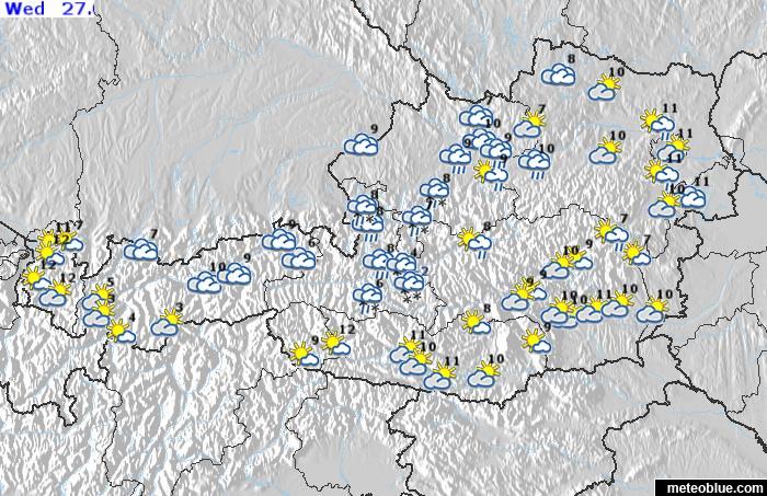 Idojarasi Terkepek Ausztria Meteoblue