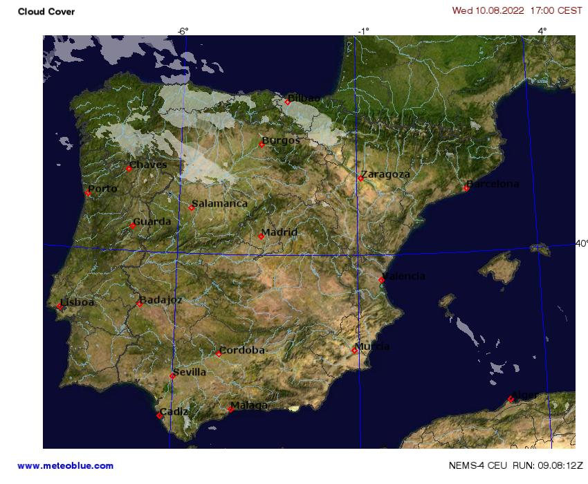 Map 24 Spain.Weather Maps Spain And Portugal Meteoblue