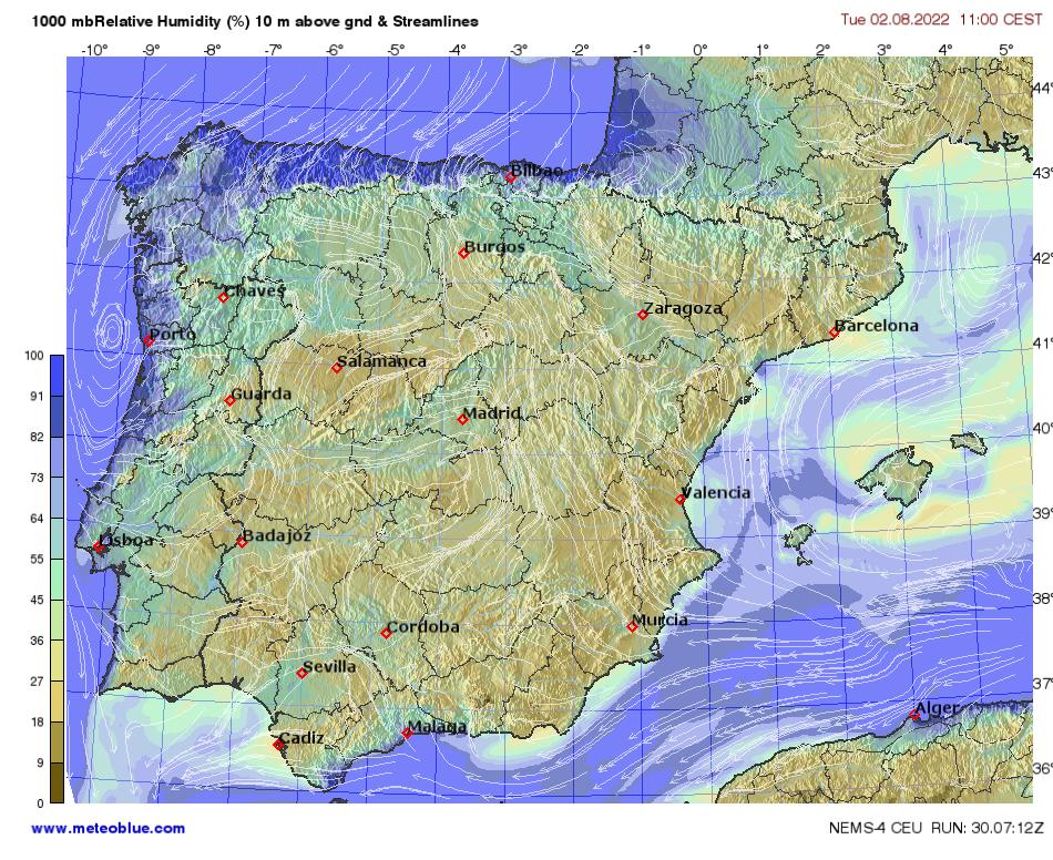 Humidity World Map.Weather Maps Spain And Portugal Meteoblue