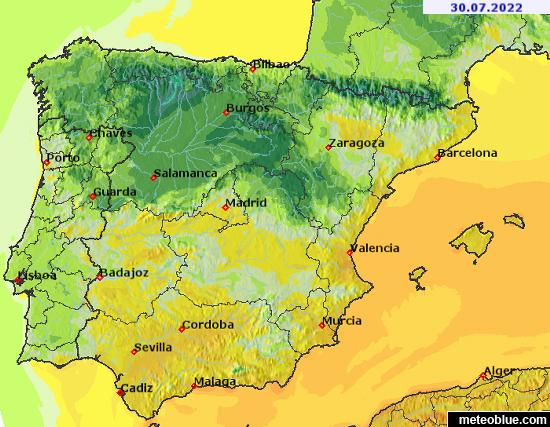 Weather Maps Spain And Portugal Meteoblue - Map of portugal spain