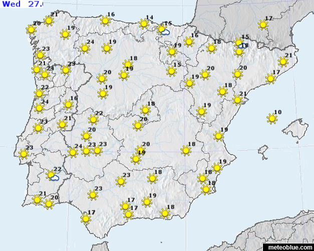 Weather Map Of Spain.Weather Maps Spain And Portugal Meteoblue