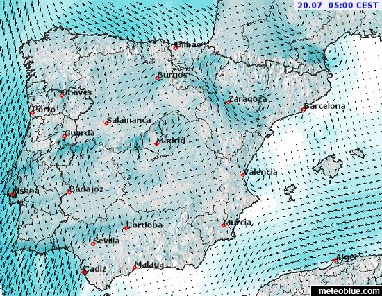 Map Of Spain For Android.Weather Maps Spain And Portugal Meteoblue