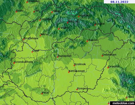 Hărţi Meteo Slovacia și Ungaria Meteoblue