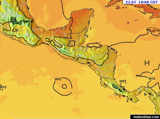 Hărţi Meteo America Centrală Meteoblue