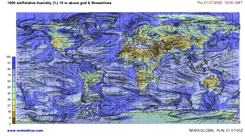 Humidity World Map.Weather Maps World Meteoblue