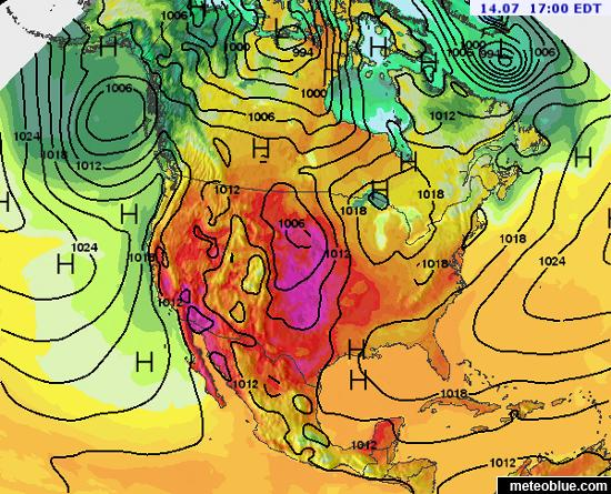 Weather Maps North America Meteoblue - Map north america