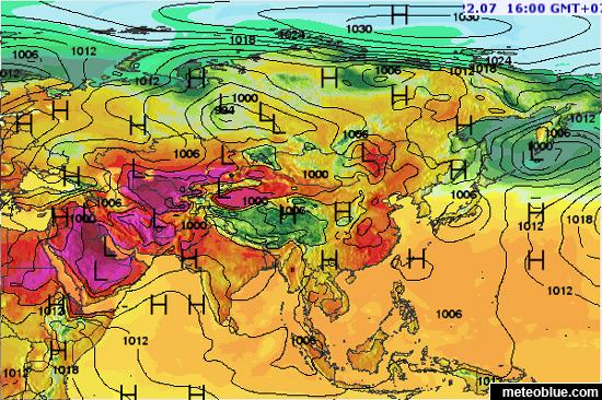 Map Of Asia Khand.Weather Maps Asia Meteoblue