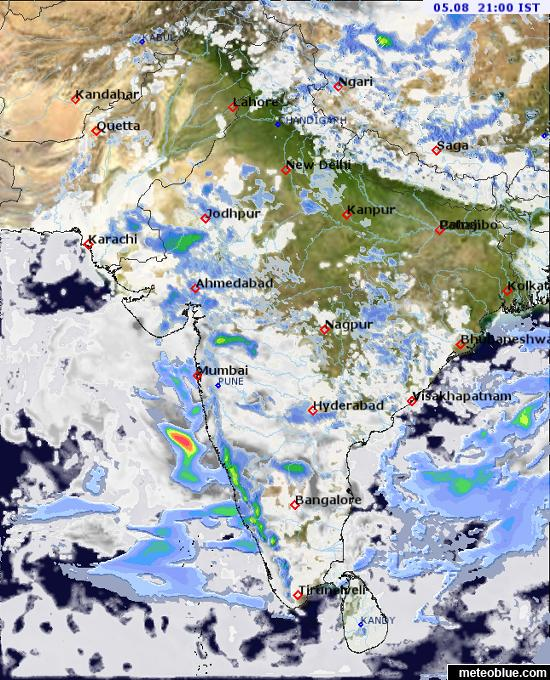 current weather map india Weather Maps India Meteoblue current weather map india