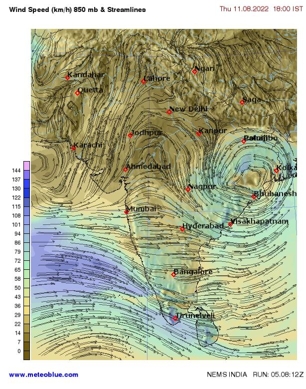 wind speed in lahore
