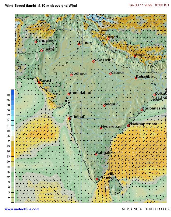 Hărţi Meteo India Meteoblue