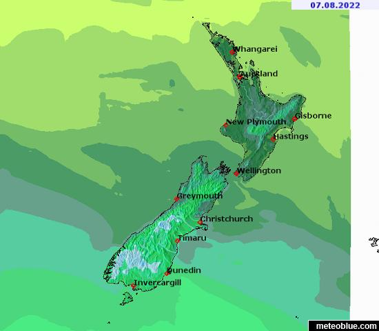 Show Map Of New Zealand.Weather Maps New Zealand Meteoblue