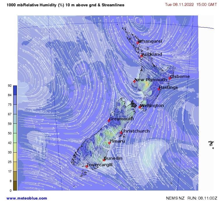New Zealand Wellington Map.Weather Maps New Zealand Meteoblue
