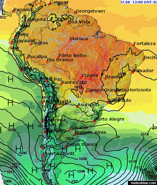 Weather Map Of America.Weather Maps South America Meteoblue
