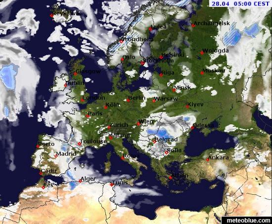 Európai felhő- és radartérkép