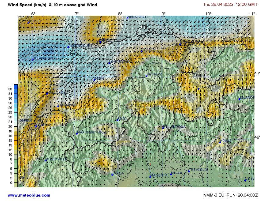 Prévision de vent à 10m - © Meteoblue